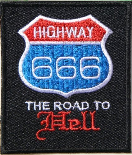 HIGHWAY 666 THE ROAD TO HELL ROUTE 66 Shield Logo Biker Rider Hippie Punk Rock Tatoo Jacket T-shirt Patch Sew Iron on Embroidered Sign Badge (Highway To Hell Costume)