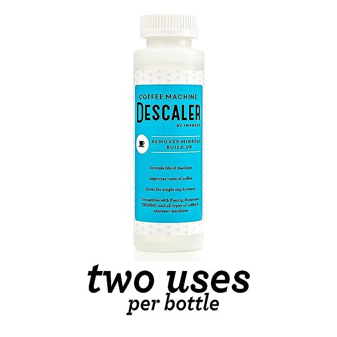 Descalcificador (2 usos por botella) - fabricado en los Estados Unidos - Solución antical de Universal para Keurig, Nespresso, DeLonghi y todos los un solo ...