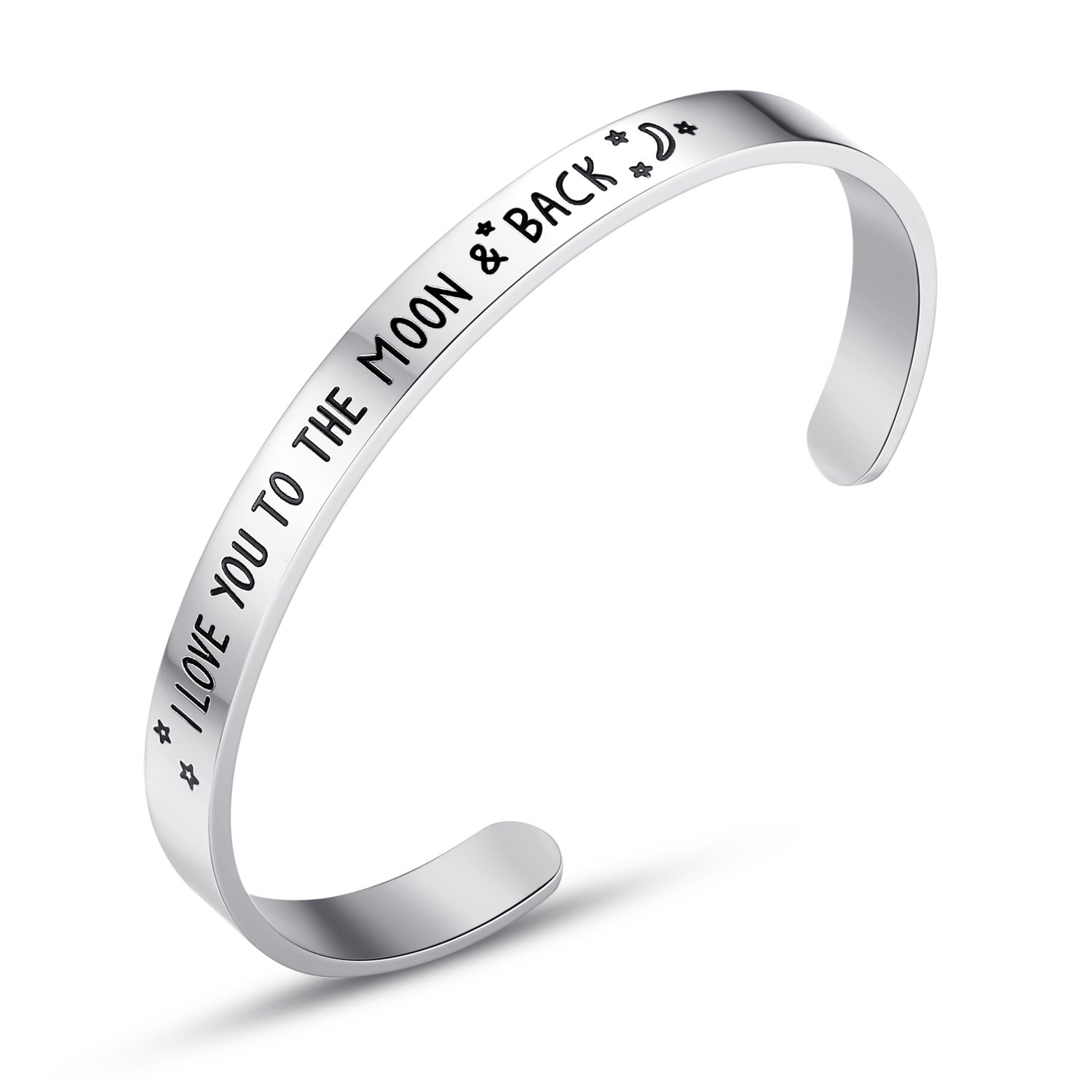 I Love You To The Moon And Back' Cuff Bracelets, Jewelry for Women, Girls, Gifts for Her, Wife, Mother, Mom, Grandma, Girlfriend, Lover, Valentine's Day, Anniversary, Christmas day gifts (Silver)