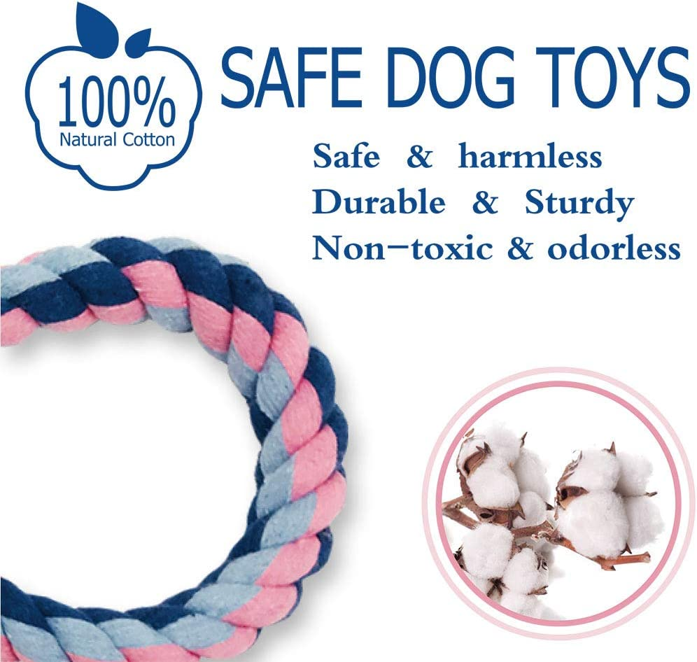 Set of 2,Clean Teeth and Massage Gums to Keep The Animals Oral Healthy Dog Chew Toys in The Shape of 8 Equimedicos Dog Rope Toys for Large Dogs Aggressive Chewers