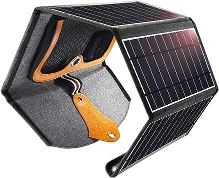 CHOETECH Cargador Solar, 22W Panel Solar Cargador Portátil Impermeable Placa Solar Power Bank Compatible con Teléfonos Samsung, iPhone, Huawei, iPad, ...