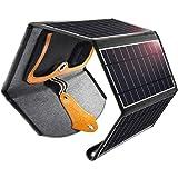 CHOETECH Cargador Solar, 22W Panel Solar Cargador Portátil Impermeable Placa Solar Power Bank Compatible con Teléfonos Samsung, iPhone, Huawei, iPad, Cámara, Tableta, Altavoz Bluetooth etc.