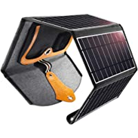 CHOETECH Cargador Solar, 22W Panel Solar Cargador Portátil Impermeable Placa Solar Power Bank Compatible con Teléfonos Samsung, iPhone, Huawei, iPad, Cámara, Tableta, Altavoz Bluetooth etc.