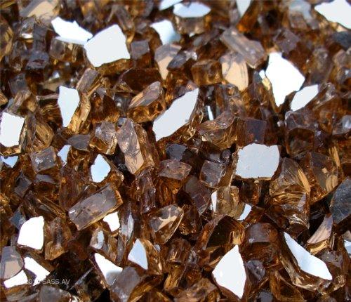 Cheap ~1/4″ Copper Reflective Fireglass Fire Pit Glass, 22 Lbs