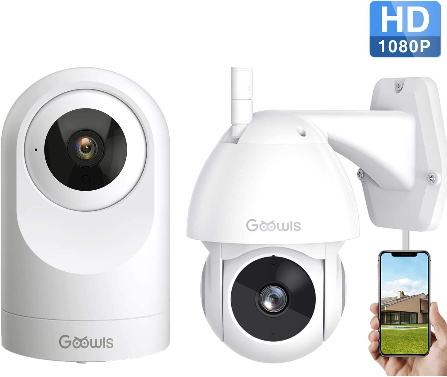 Goowls 1080P Outdoor and Indoor WiFi Home Security Camera Plug-in with Waterproof Night Vision 2-Way Audio Motion Detection Activity Alert Cloud Service Compatible with Alexa