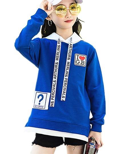 d09a0e9bfbc8a ZKKK ジュニアパーカー ガールズブラウス 女の子プルオーバー インナーシャツ ロング丈 フード付きパーカー 長袖