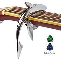 Imelod capo Guitar capo Shark capo per chitarra acustica ed elettrica, in lega di zinco per chitarra 6 corde con buona sensibilità della mano, nessun ronzio del tasto e durevole (Argento)