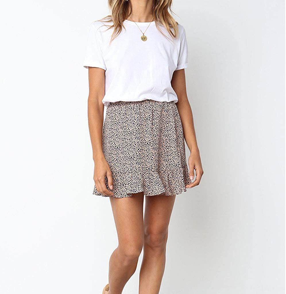 Colmkley Womens Casual Vintage Dot Printed High Waist Ruffle Short Mini Skirt