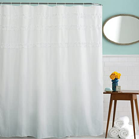 White Ruffle Shower Curtain Bathroom Mildew Resistant Waterproof Fabric With Hooks 72 By 80 Inches