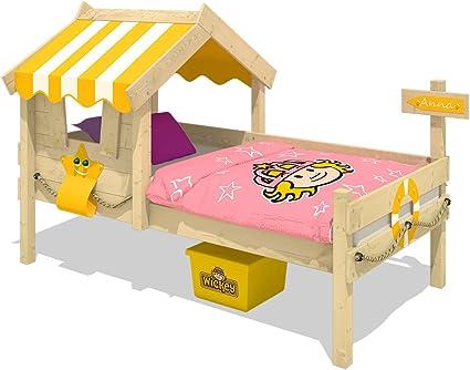 WICKEY Cama infantil CrAzY Sunny Cama de madera Cama individual 90x200 con techo y somier de madera, amarillo