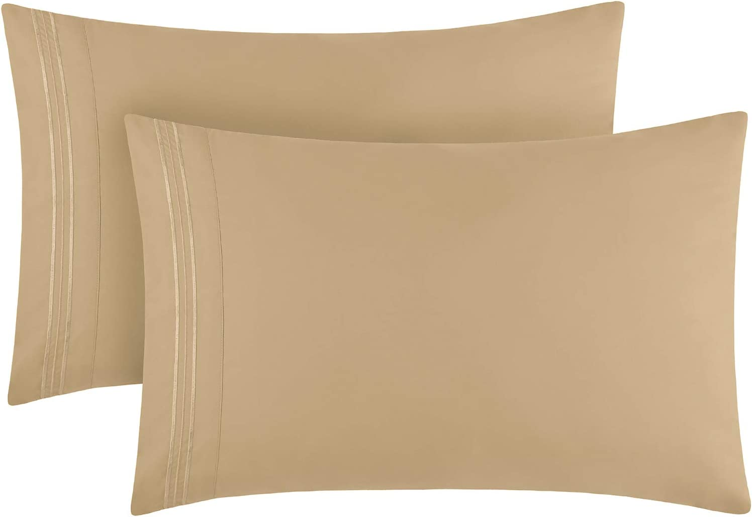 Mellanni Luxury Pillowcase Set - Brushed Microfiber 1800 Bedding - Wrinkle, Fade, Stain Resistant - Hypoallergenic (Set of 2 Standard Size, Beige): Home & Kitchen