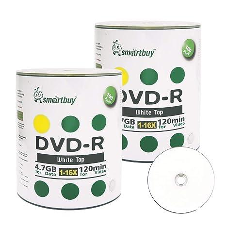 Amazon Smartbuy 200 Disc 47gb 120min 16x DVD R White Top Blank