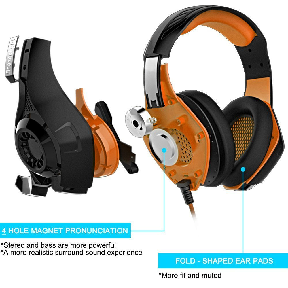 Beexcellent Gaming Headset with Microphone for New Xbox PS4 PC Smart phone Laptops- Surround Sound, Noise Reduction Game Earphone - Easy Volume Control with LED Lighting 3.5MM Jack (Orange) GM-1-Orange