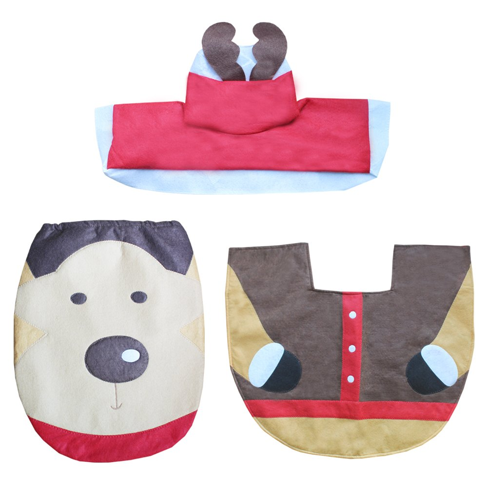 King-R Christmas Decorations Santa Claus Snowman Wizard Deer Toilet Seat Cover and Rug Set and Paper Box Cover Set for Christmas Commode Toilet Bath Room Decoration (Deer)
