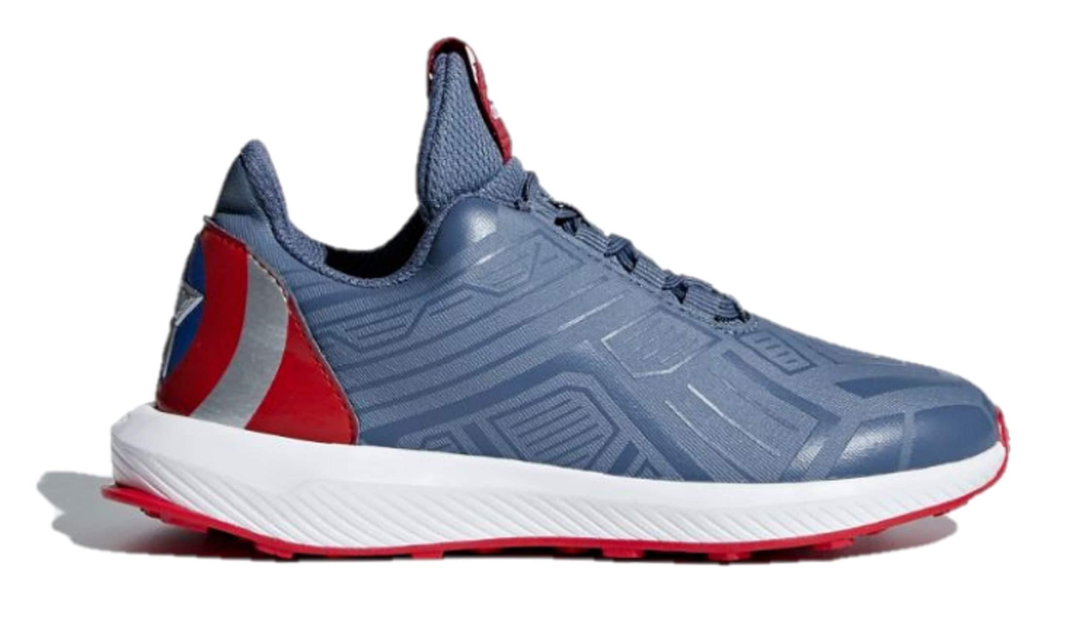 adidas RapidaRun Unisex Kids Running Marvel Captain America LTD Sneakers (2 M US, Raw Steel/Tech Ink/Scarlet)