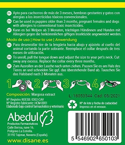 Disane Collar Antipulgas para Perros 100% Natural | 3 Meses de ...