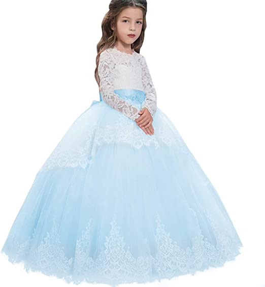 Kids Girls Floral Lace Princess Pageant Wedding Bridesmaid Birthday Party Dress