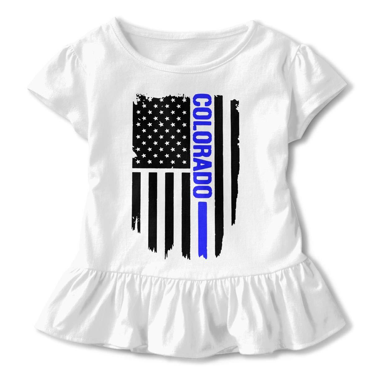 SHIRT1-KIDS Colorado Thin Blue Line Childrens Girls Short Sleeve Ruffles Shirt Tee Jersey for 2-6 Toddlers