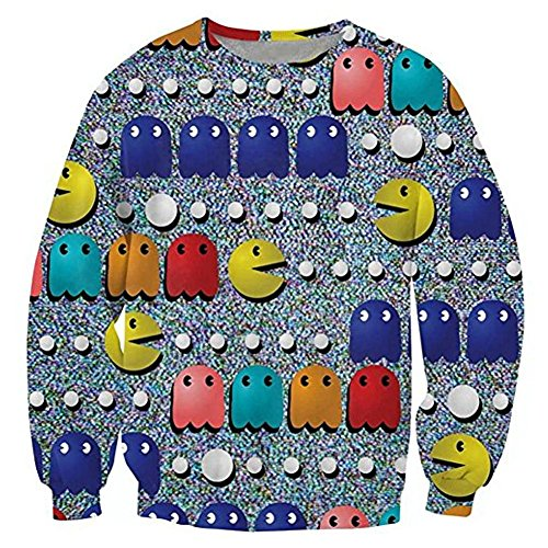 Classic 80s Clothing (80s classic PacMan Funny Sweatshirt Kawaii Emoticons Hoodies Clothing Men Sport Tops)