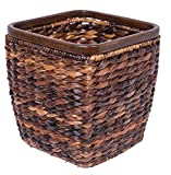 BIRDROCK HOME Seagrass Woven Wastebasket | Espresso | Office Waste Bin | Decorative | Wooden Base | Recycle Trash Can