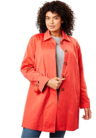 888e277293d Amazon.com  Woman Within Plus Size Water-Resistant A-Line Raincoat ...