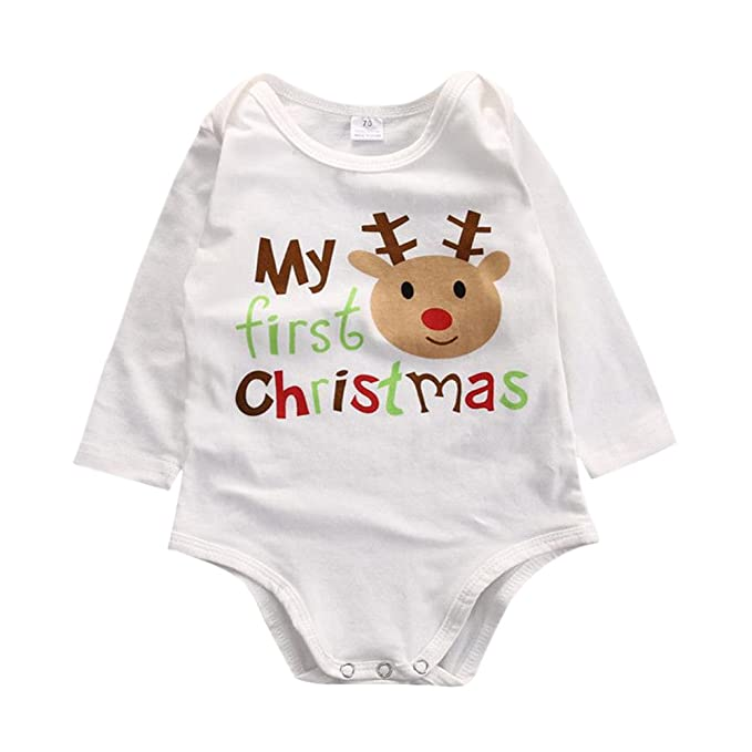 patgoal bebé recién nacido ropa Navidad ciervos patrón Pelele manga larga Jumpsuits (0 – 12