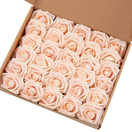 Marry Acting Artificial Flower Rose, 30pcs Real Touch Artificial Roses for DIY Bouquets Wedding Party Baby Shower Home Decor (Blush)