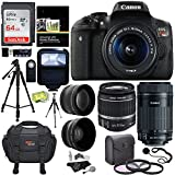 Canon EOS Rebel T6i Digital SLR EF-S 18-55mm IS STM Lens + Canon EF-S 55-250mm + Polaroid 58mm .43x Wide Angle & 2.2X Lenses + 64GB Memory Card+ Tripods + 58mm Filter + Accessory Kit