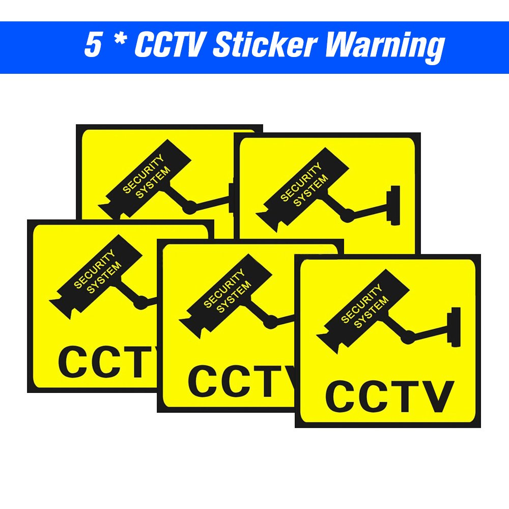 OWSOO 5pcs Cartel Alarma Impermeable Señ ales de Seguridad Pegatinas de Advertencia para CCTV Vigilancia