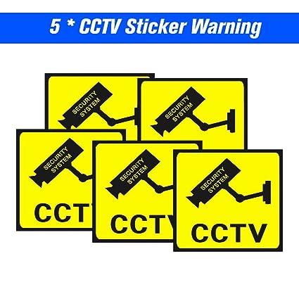 OWSOO 5pcs Cartel Alarma Impermeable Señales de Seguridad Pegatinas de Advertencia para CCTV Vigilancia