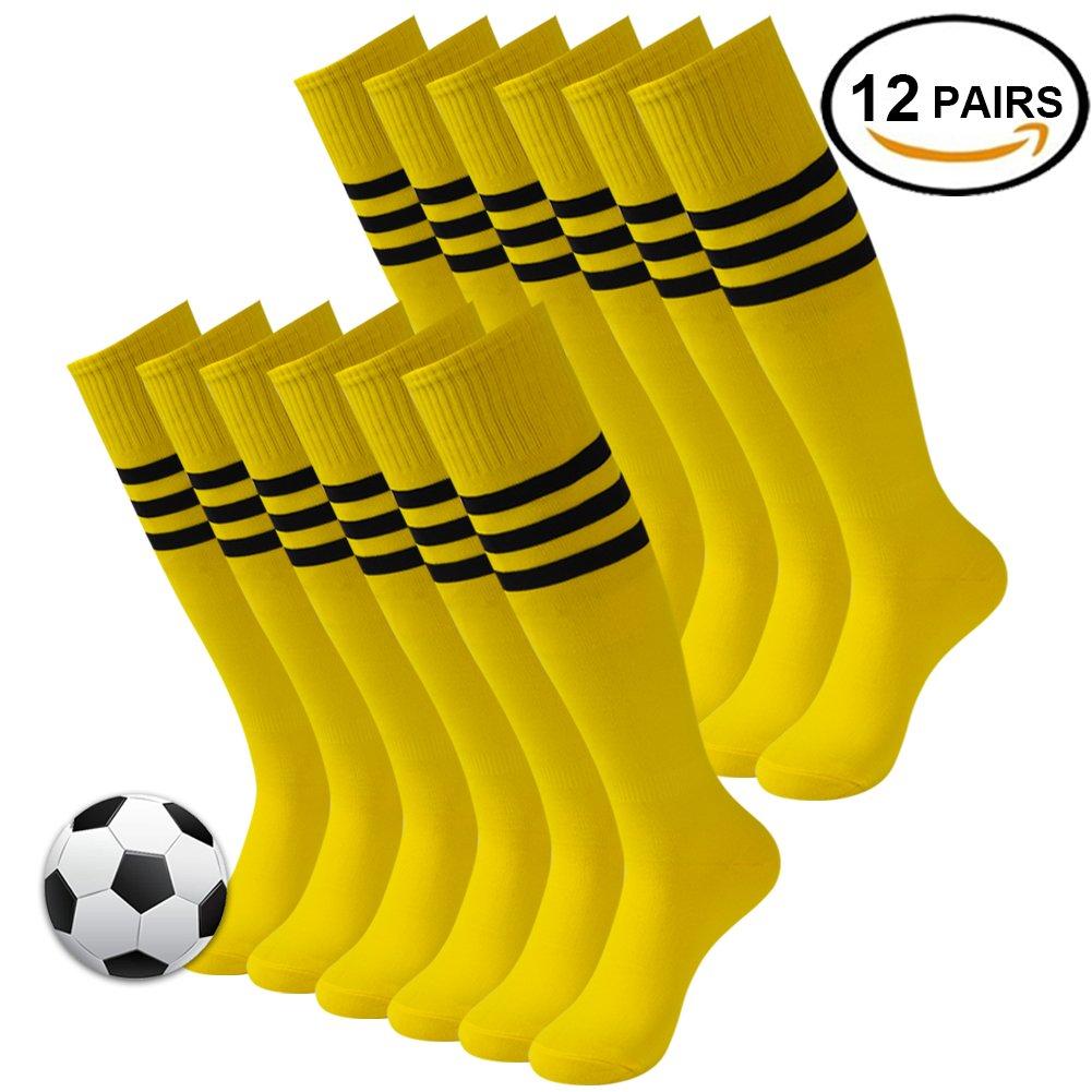 3streetユニセックスニーハイ/ Over Calfトリプルストライプアスレチックチューブソックス3 – 12ペア B078BMKXXX 04#12 Pairs Bright Yellow 04#12 Pairs Bright Yellow