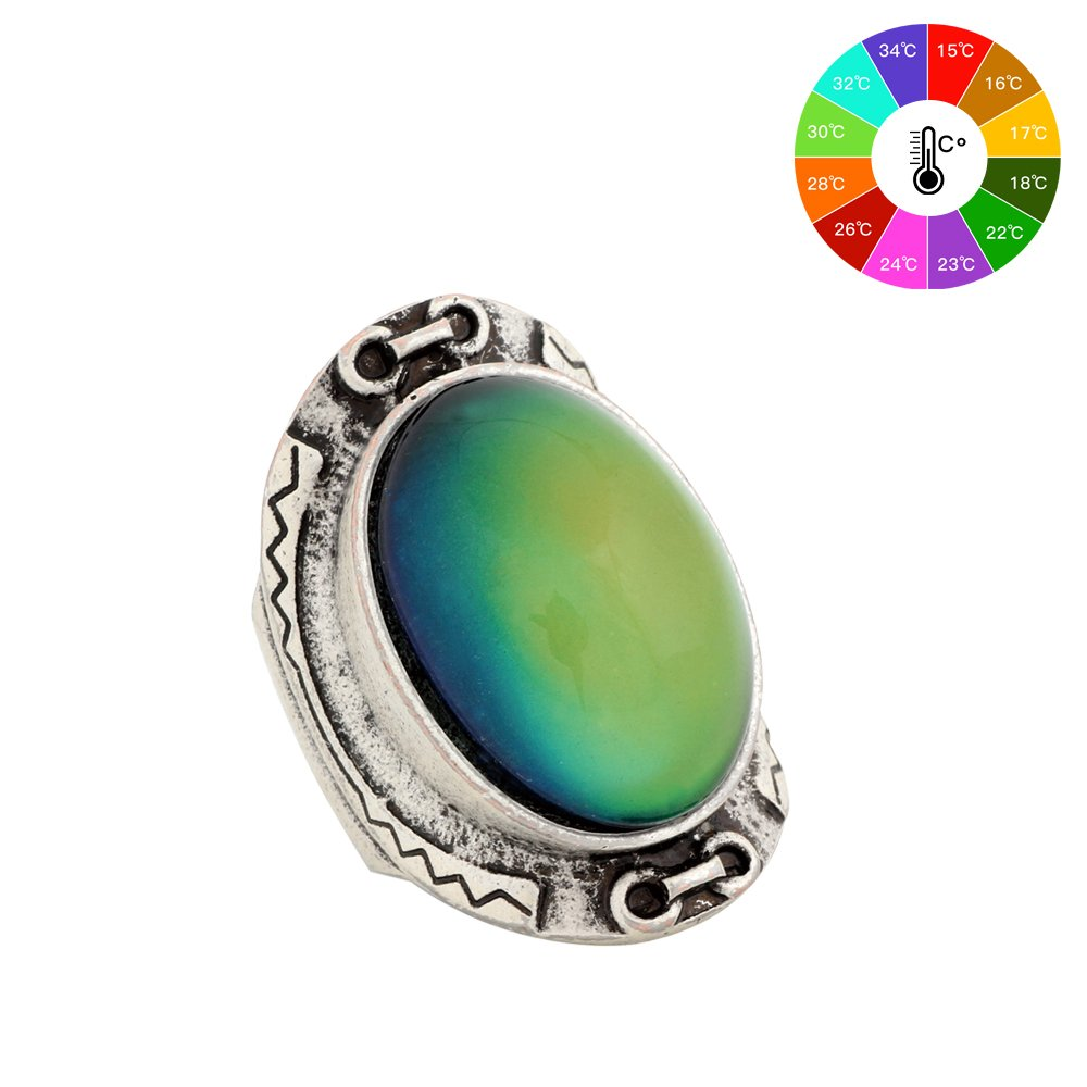 MOJO JEWELRY Bohemia Style Classic Antique Sterling Silver Plating Big Oval Stone Color Change Mood Ring MJ-RS033