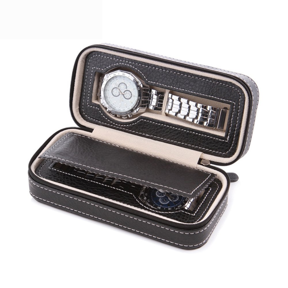 Aco&bebe House Black Zippered Watches Box Travel Case - Watch Organizer Collection - Top Grade Carbon Fibre PU Leather (Black-2 Slots)