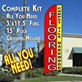 FLOORING CARPET TILE HARDWOOD (Red/Yellow) Flutter Feather Banner Flag Kit (Flag, Pole, & Ground Mt)