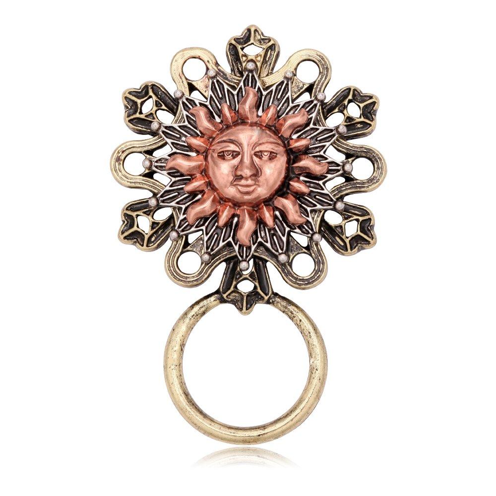 GUANDU Retro Gold Sun Magnetic Eyeglass Holder Brooch Pins for Unisex
