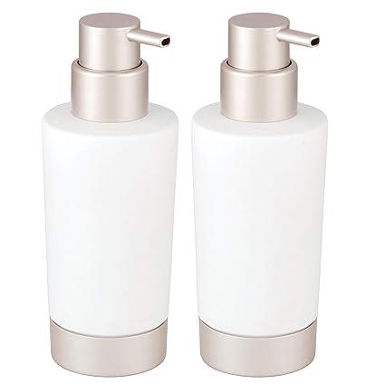 mDesign Juego de 2 dispensadores de jabón para lavabo o fregadero – Dosificadores de jabón recargables