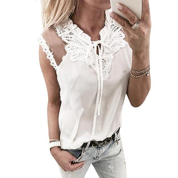 Tank Tops damen Kolylong Frauen Elegant Spitze Ärmellose Blusen mit  Schleife Festlich Chiffon Oberteile Weißes Business b2384769c3
