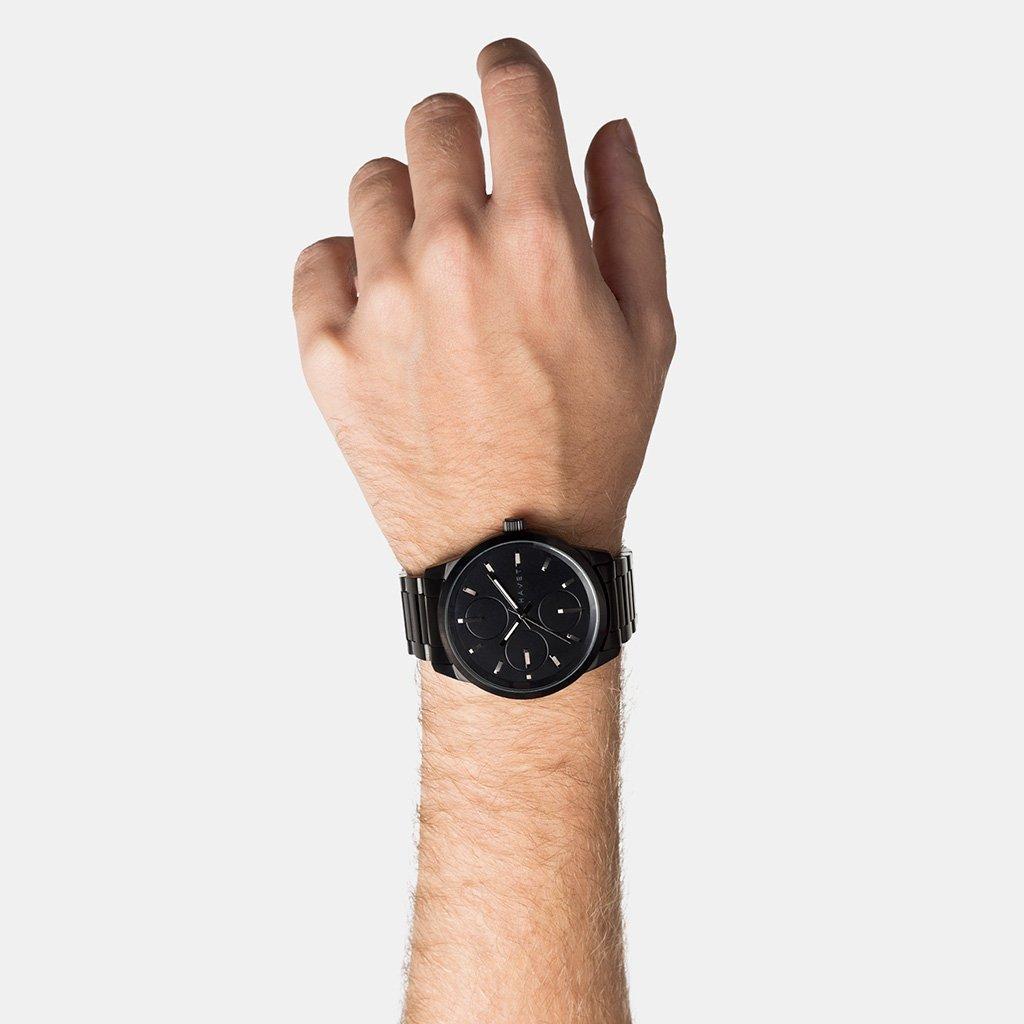 HAVET | Reloj de hombre Nevis de acero color negro con brazalete de eslabones: Amazon.es: Relojes