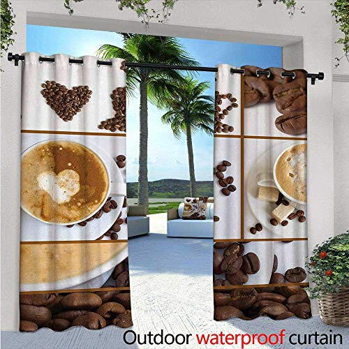 Kitchen Outdoor Privacy Curtain for Pergola W72 x L84 Coffee Themed Collage of Beans Mugs Hot Foamy Drink with a Heart Macro Aroma Photo Thermal Insulated Water Repellent Drape for Balcony Brown Wh (Heart Foamies)