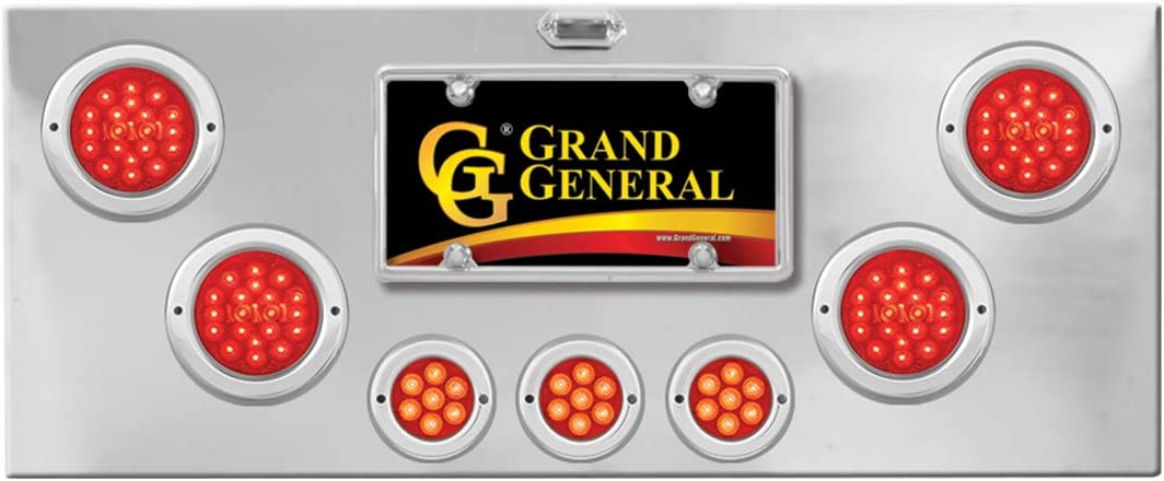 U Bracket GG Grand General 91610 Red//Clear Stainless Steel Light Panel with 4 inches and 2-1//2 inches Spyder LED
