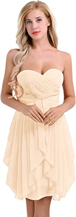 FEESHOW Women Ladies Sweetheart Ruched Strapless Chiffon Elegant Short Evening Party Bridesmaid Dress Dance Prom Gown
