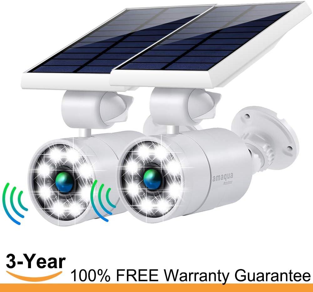 Solar Motion Sensor Lights Outdoor 1400-Lumens 9-Watt 110W Equ. Aluminum Auto On Off and Dim to Bright Outdoor Flood Security Spotlight for Patio Garden Driveway, 3-Year 100 FREE Warranty Guarantee
