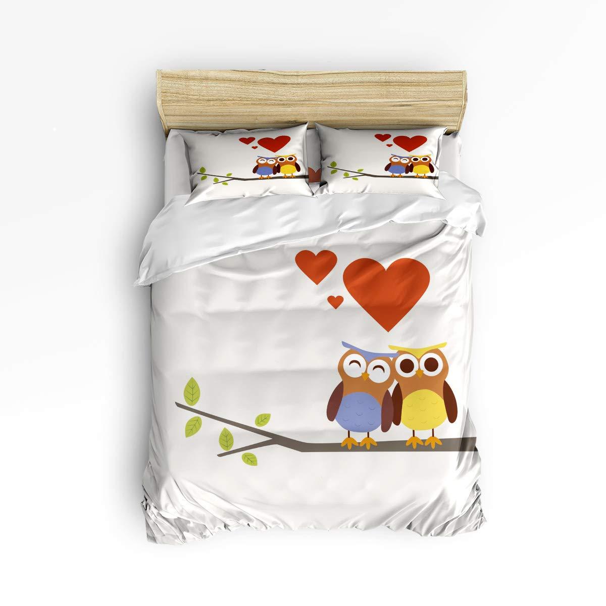 フルサイズ 掛け布団カバー4点セット ジッパー付き かわいいソフトベッドシーツセット 枝の上のふくろう 秋の愛 掛け布団カバー 寝具セット 掛け布団カバー1枚+ベッドシーツ1枚+枕カバー2枚 B07KWBV2XW