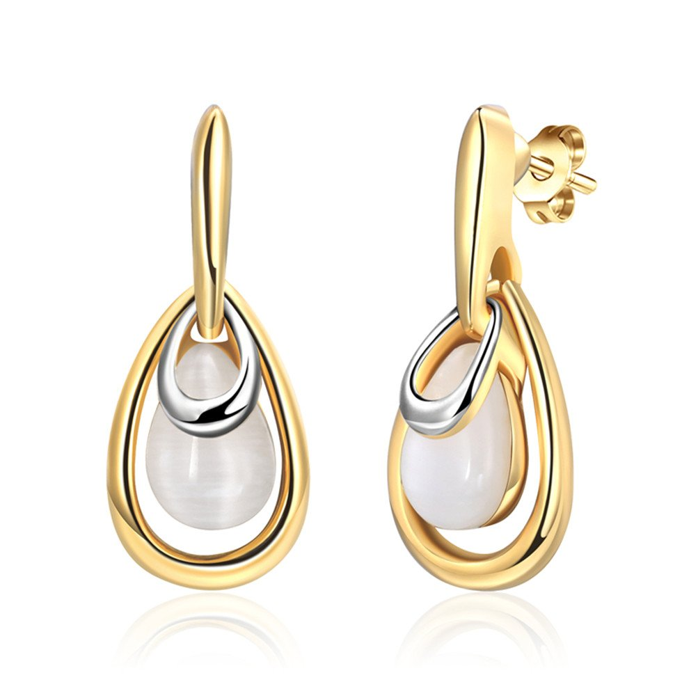 Luxury Teardrop Opal Wedding Earrings Valentine's Day Gift For Wife Mother 18ct Gold Plated