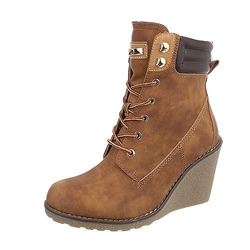 Ital-Design Zapatos para Mujer Botas Plataforma Botines con Cordones: Amazon.es: Zapatos y complementos