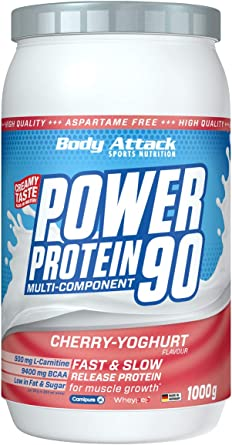 Body Attack Power Protein 90, Crema de cereza y yogur, 1 kg, 5 K de proteína en polvo con proteína de suero, L-carnitina y BCAA para el desarollo de ...