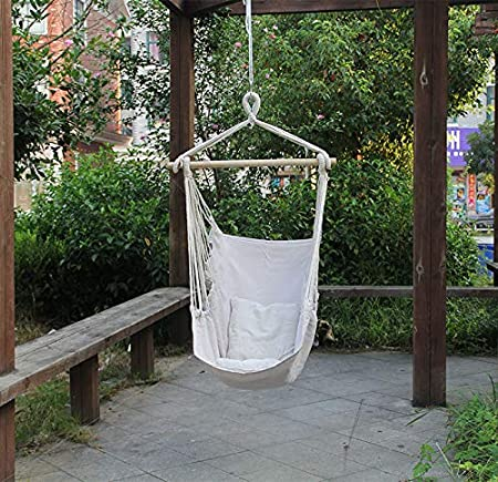 Amazon Com Insforever Agg Chair Swing Hammock Chair Hanging Chai Swing Chair For Bedroom Hammock Net Chair Hanging Chairs For Bedrooms Rope Chair Hammock Swing Beige Furniture Decor