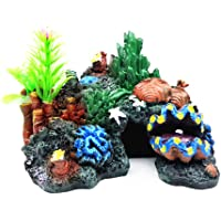 YaptheS Ocultación de Acuario Resina Coral Fish Cueva Refugio Submarino Paisaje de la decoración del Acuario