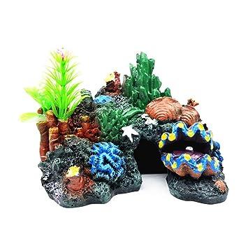 YaptheS Ocultación de Acuario Resina Coral Fish Cueva Refugio Submarino Paisaje de la decoración del Acuario Resina Coral Cueva de rocalla: Amazon.es: ...