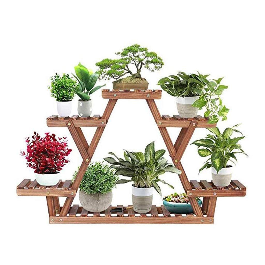 Ganxie Wood Plant Stand Triangular Plant Shelf Multi Tier Flower Display Holder Storage Rack 6 Pots for Indoor Outdoor Living Room Balcony Patio (Size : Small) by Ganxie